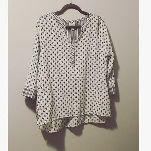 White and Navy Cotton Blouse